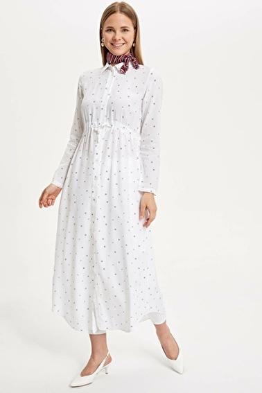 DeFacto Uzun Dokuma Elbise Beyaz